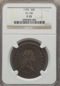 Early Half Dollars, 1795 50C 2 Leaves, O-130, T-8, Low R.5, Fine 15 NGC....
