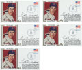 Baseball Collectibles:Others, 1979 Ted Williams Signed First Day Cover Lot of 5. ...