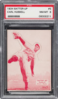 Baseball Cards:Singles (1930-1939), 1934-36 R318 Batter-Up Carl Hubbell #5 PSA NM-MT 8 - Pop Three,None Higher....