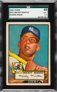 1952 Topps Mickey Mantle #311 SGC 45 VG+ 3.5