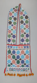 American Indian Art:Beadwork and Quillwork, A Potawatomi Loom-Beaded Cloth Bandolier Bag. c. 1890...
