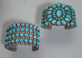 American Indian Art:Jewelry and Silverwork, Two Zuni/Navajo Silver and Turquoise Bracelets. c. 1920 and 1940...(Total: 2 )