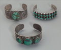 American Indian Art:Jewelry and Silverwork, Three Zuni/Navajo Silver and Turquoise Bracelets. c. 1930...(Total: 3 )