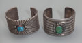 American Indian Art:Jewelry and Silverwork, Two Navajo Silver and Turquoise Cuff Bracelets. c. 1960... (Total:2 )