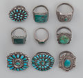 American Indian Art:Jewelry and Silverwork, Nine Zuni/Navajo Silver and Turquoise Rings. c. 1940... (Total: 9 )
