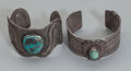 American Indian Art:Jewelry and Silverwork, Two Navajo/Santo Domingo Silver and Turquoise Cuff Bracelets. c.1960... (Total: 2 )