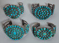 American Indian Art:Jewelry and Silverwork, Four Navajo Silver and Turquoise Bracelets. c. 1935... (Total: 4 )