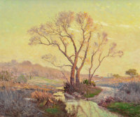Porfirio Salinas (American, 1910-1973) Morning in the Hill Country Oil on canvas 20-1/4 x 24 inch