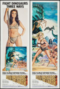 "Movie Posters:Fantasy, When Dinosaurs Ruled the Earth (Warner Brothers, 1970). Door PanelSet of 4 (20"" X 60""). Fantasy.. ... (Total: 4 Items)"