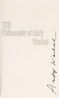 Books:Art & Architecture, Andy Warhol. The Philosophy of Andy Warhol (From A to B and BackAgain). New York: Harcourt Brace Jovanovich, [1975]...