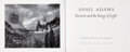 Books:Photography, Ansel Adams. Yosemite and the Range of Light. Introductionby Paul Brooks. Boston: New York Graphic Society, 1979. ...