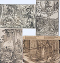 Books:Prints & Leaves, [Woodcuts]. Group of Four German Biblical Woodcuts. Circa16th-Century. ...