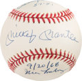 Baseball Collectibles:Balls, Circa 1995 Mickey Mantle Multi Signed OAL (Budig) Baseball with First and Last Home Run Pitchers. ...
