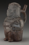 Pre-Columbian:Ceramics, Early Moche Grayware Bottle of Hunter with a Fawn. c. 200 - 400 AD....