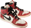 Basketball Collectibles:Others, 1985 Michael Jordan Game Worn & Period-Signed Chicago Bulls AirJordan I Rookie Sneakers....