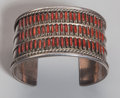 American Indian Art:Jewelry and Silverwork, A Zuni Silver and Coral Bracelet...