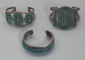 American Indian Art:Jewelry and Silverwork, Three Zuni Silver and Turquoise Bracelets... (Total: 3 )