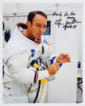 """Autographs:Celebrities, Edgar Mitchell Signed Apollo 14 """"Suiting Up"""" Color Photo...."""