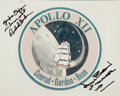 """Autographs:Celebrities, Apollo 12 Original NASA """"Red Number"""" Mission Insignia Color Photo Signed by Bean and Gordon...."""