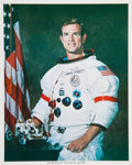 Autographs:Celebrities, Dave Scott Signed White Spacesuit Color Photo. ...