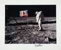 "Explorers:Space Exploration, Buzz Aldrin Signed Large Apollo 11 Lunar Surface ""Flag"" PhotoOriginally from His Personal Collection. ..."