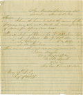 """Military & Patriotic:Civil War, Group Lot of Five Confederate Generals' Autographs consisting of: . William Preston- ALS, one page on lined paper, 8"""" x ..."""
