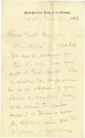 Autographs:Military Figures, Historic George G. Meade Handwritten and Signed Orders to General Horatio Wright during the Battle of Cold Harbor, one of th...