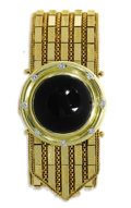 Estate Jewelry:Bracelets, Black Onyx, Diamond, Gold Bracelet. The garter style bracelet is made of patterned and heavily textured 18k yellow gold, c...