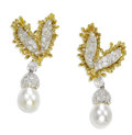 Estate Jewelry:Earrings, Cultured Pearl, Diamond, Platinum, Gold Earrings. Each earringfeatures full-cut diamonds pave set in platinum, framed by ...(Total: 1 Sets)
