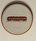 German Lots: , German Lots: Meissen white porcelain medal 1940, for the Truce with France June 25, 1940, Train car in red on white porcelain/Swastika, S...
