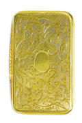 Estate Jewelry:Other , Victorian Gold Snuffbox, Leon Tournan. The hinged 18k yellow goldbox has and ornate floral and foliate engraved pattern w...