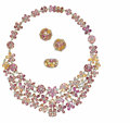 Estate Jewelry:Other , Multi-Color Sapphire, Diamond, Gold Jewelry Suite. The floralthemed suite includes: one necklace featuring marquise, oval...(Total: 3 )