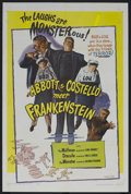 "Movie Posters:Horror, Abbott and Costello Meet Frankenstein (Realart, R-1956). One Sheet(27"" X 41""). Horror Comedy. Starring Bud Abbott, Lou Cost..."
