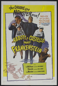 "Abbott and Costello Meet Frankenstein (Realart, R-1956). One Sheet (27"" X 41""). Horror Comedy. Starring Bud Ab..."