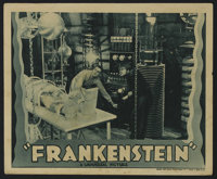 "Frankenstein (Universal, R-1938). Lobby Card (11"" X 14"").""). Few images from the last century are so univ..."