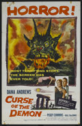 """Movie Posters:Horror, Curse of the Demon (Columbia, 1957). One Sheet (27"""" X 41""""). DanaAndrews is a cynical psychologist, who doubts that a series..."""