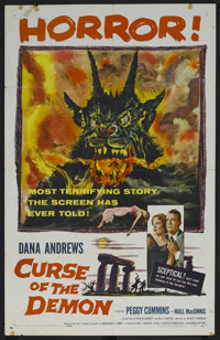 "Curse of the Demon (Columbia, 1957). One Sheet (27"" X 41""). Dana Andrews is a cynical psychologist, who doubts..."