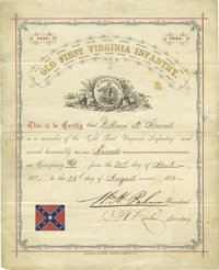 """""""Old First Virginia Infantry 1861-65"""" Ornate Document. This document was designed to be framed showing the Vir..."""