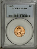 1968-S 1C MS67 Red PCGS. A sharply struck straw-gold Superb Gem that has striking, brassy surfaces. A few tiny marks app...