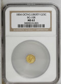 California Fractional Gold: , 1854 25C Liberty Octagonal 25 Cents, BG-108, Low R.4, MS62 NGC.PCGS Population (41/45). (#10377)...
