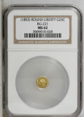 California Fractional Gold: , Undated 25C Liberty Round 25 Cents, BG-221, R.3, MS62 NGC. PCGSPopulation (48/85). (#10406)...