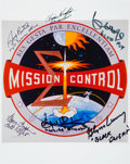 Autographs:Celebrities, NASA Mission Control Emblem Color Photo Signed by SixControllers....