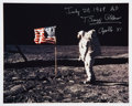 Autographs:Celebrities, Buzz Aldrin Signed Apollo 11 Lunar Surface Color Photo. ...