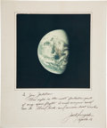 Autographs:Celebrities, Jack Swigert Apollo 13 Earth Color Image Signed on Mat. ...