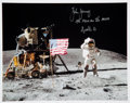 """Autographs:Celebrities, John Young Signed Apollo 16 Lunar Surface """"Leaping Salute"""" ColorPhoto...."""