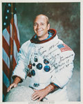 Autographs:Celebrities, Ron Evans Signed White Spacesuit Color Photo, with PSA/DNACertification. ...