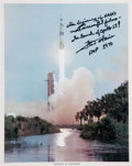 Autographs:Celebrities, Fred Haise Signed Apollo 13 Color Launch Photo. ...