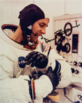 "Autographs:Celebrities, Alan Bean Signed Apollo 12 ""Suiting Up"" Color Photo. ..."
