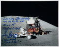Autographs:Celebrities, Gene Cernan Signed Apollo 17 Lunar Surface Color Photo. ...