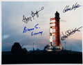 Autographs:Celebrities, Apollo 13 Launch Vehicle Color Photo Signed by Four MissionControllers: Kraft, Kranz, Lunney, and Griffin. ...